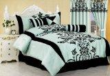 7 Pieces Aqua Blue with Black Floral Comforter Duvet Cover Set for Queen Size Bedding