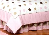 Pink and Brown Modern Polka Dots Queen Kids Childrens Bed Skirt by JoJo Designs