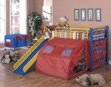 Multicolor Bunk Bed with Slide and Tent