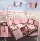 SoHo Pink & Brown Floral Garden Crib Nursery Bedding Set 10 pcs