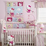Bedtime Originals Hello Kitty and Puppy 4-Piece Baby Crib Bedding Set - Pink