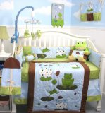 SoHo Froggies Party Baby Infant Crib Nursery Bedding Set 10pcs **Reversible Into Morden Blue & Brown Polka Dot Designs