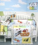 SoHo Noah Ark Baby Crib Nursery Bedding 10 Pcs SET ** Reversible Into 2 Designs !