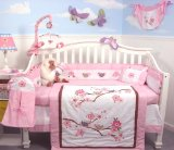 SoHo Love Bird Story Crib Nursery Bedding Set 10 pcs **Reversible Into Morden Pink & Brown Polka Dot Designs