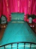 3p Aqua Floral Silk Sari Indian Bedding Bedspread-twin