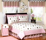 Pink and Brown Modern Polka Dots Girls Full / Queen Teen Kids Childrens 3 pc Bedding Set by JoJo Designs