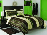 Quiksilver Skateboard Stripe Brown Cream Green Boys Comforter Set  Dec Pillows