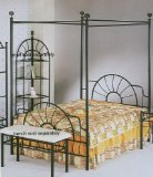 Full Size Black Sunburst Metal Frame Canopy Bed