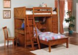 Bunk Bed - Twin / Twin Size Workstation Bunk Bed in Oak - Coaster
