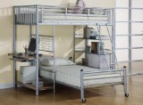 Bunk Bed - Twin / Twin Size Workstation Bunk Bed in Silver - Coaster