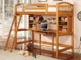 Coaster Bunk Bed and Workstation in Warm Brown Finish