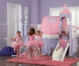 Princess Castle Twin Size Tent Bunk Bed with Slide By Powell