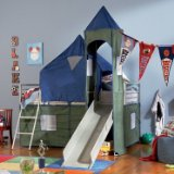 Boys Blue & Green Twin Tent Bunk Bed with Slide By Powell Furniture