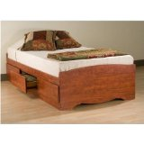 Prepac CBT-4100-2K Captain's Platform Twin Bed - Cherry