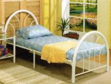 Twin Size Bed Frame In White Metal Finish