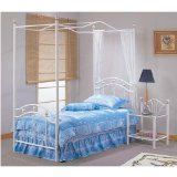 White Finish Metal TWIN SIZE CANOPY BED