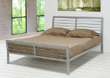 Contemporary Metal Silver Platform Queen Size Bed