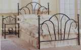 Black Metal Queen Size Bed - Headboard And Footboard With Spiral Finials