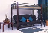 Twin / Full Pine Wood & Metal Convertible Futon Bunk Bed (Bunkbed)