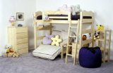 solid wood child loft bed with futon