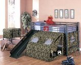 Kid's Twin Size GI Child Bunk Bed w/Slide & Tent