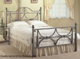 Full Size Bronze Finish Metal Bed Headboard and Footboard
