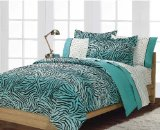 Boys or Girls Teen Exotic Turquoise Black Zebra Print Comforter Set