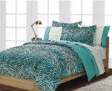 Boys or Girls Teen Exotic Turquoise Black Zebra Print Comforter Set