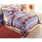 Cotton Fire Truck- Twin Quilt with Pillow Sham