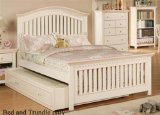 Full Size Bed with Trundle in Cream Finish