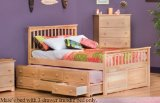 Full Size Mate's Bed with 3 Drawer Trundle Bed Natural Maple Finish