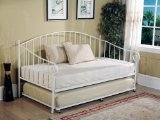 White Metal Twin Size Day Bed (Daybed) Frame with Trundle
