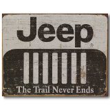 Nostalgic Jeep Tin Sign : The Trail Never Ends
