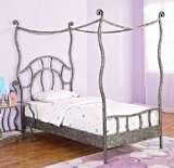 Twin Size Canopy Bed w/ Frame in Textured Pewter Finish - Parisian Collection