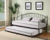 Matt Black Metal Twin Size Day Bed (Daybed) Frame with Pop Up Trundle Trundle
