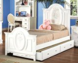 Full Size Bed with Trundle White Finish
