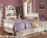 Twin Size Sleigh Bed with Trundle White Finish