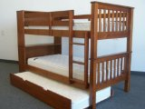Bookcase Bunk Bed Twin over Twin Mission style in Expresso with Twin Trundle