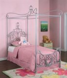 Powell Princess Rebecca Canopy Twin Size Bed 374-106 (Silver) (78.5H x 83.25W x 40.25D)