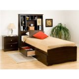 Espresso Twin Mates Bed with Storage Headboard