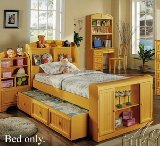 Twin Size Bed with Trundle Bed Honey Oak Finish