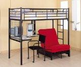 Black Finish Metal Bunk Bed w/Futon Desk Chair CD Rack