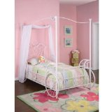 White Sweetheart Twin Canopy Day Bed With Rails